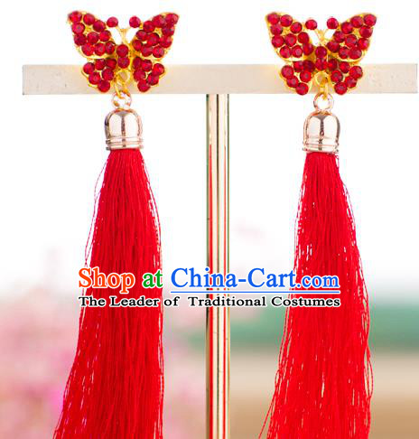 Chinese Ancient Bride Classical Accessories Earrings Wedding Jewelry Hanfu Red Crystal Butterfly Eardrop for Women