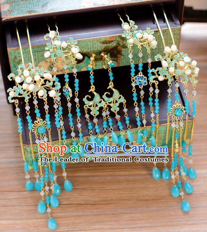 Chinese Traditional Palace Hair Accessories Ancient Hairpins Xiuhe Suit Blue Hair Clips Complete Set for Women