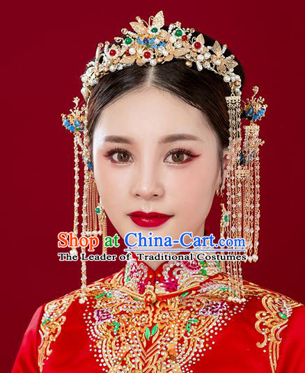 Chinese Traditional Palace Hair Accessories Ancient Hairpins Xiuhe Suit Pearls Phoenix Coronet Complete Set for Women