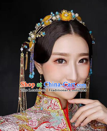 Chinese Traditional Palace Hair Accessories Ancient Hairpins Xiuhe Suit Tassel Hair Clips Complete Set for Women