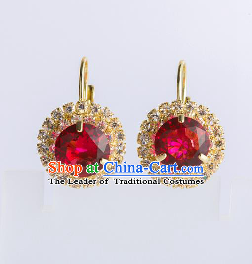 Chinese Ancient Bride Classical Accessories Red Crystal Earrings Wedding Jewelry Hanfu Eardrop for Women