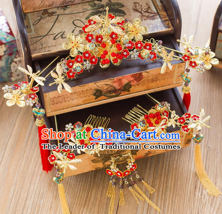 Chinese Traditional Palace Hair Accessories Ancient Hairpins Xiuhe Suit Red Flowers Phoenix Coronet for Women