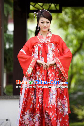 Chinese Traditional Princess Red Hanfu Dress Ancient Tang Dynasty Palace Lady Costume for Women