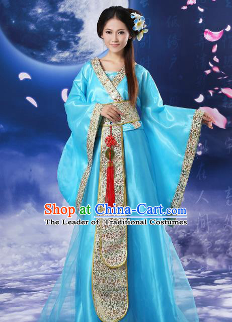 Chinese Traditional Fairy Blue Hanfu Dress Ancient Tang Dynasty Imperial Concubine Costume for Women