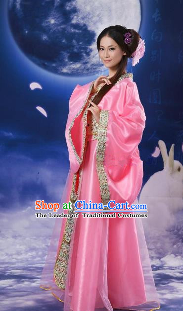 Chinese Traditional Fairy Pink Hanfu Dress Ancient Tang Dynasty Imperial Concubine Costume for Women