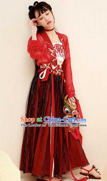 Chinese Ancient Tang Dynasty Imperial Concubine Embroidered Costume Traditional Palace Lady Hanfu Dress for Women