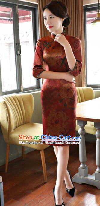 Top Grade Chinese Elegance Brown Watered Gauze Qipao Dress National Costume Traditional Mandarin Cheongsam for Women