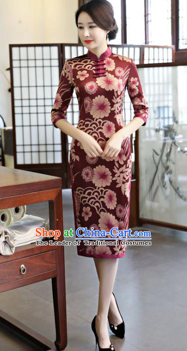 Top Grade Chinese Amaranth Watered Gauze Qipao Dress National Costume Traditional Mandarin Cheongsam for Women