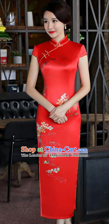 Top Grade Chinese National Costume Printing Red Silk Qipao Dress Traditional Tang Suit Cheongsam for Women
