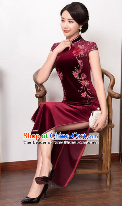 c74abeaa7 Top Grade Chinese National Costume Wine Red Pleuche Qipao Dress Traditional  Lace Cheongsam for Women