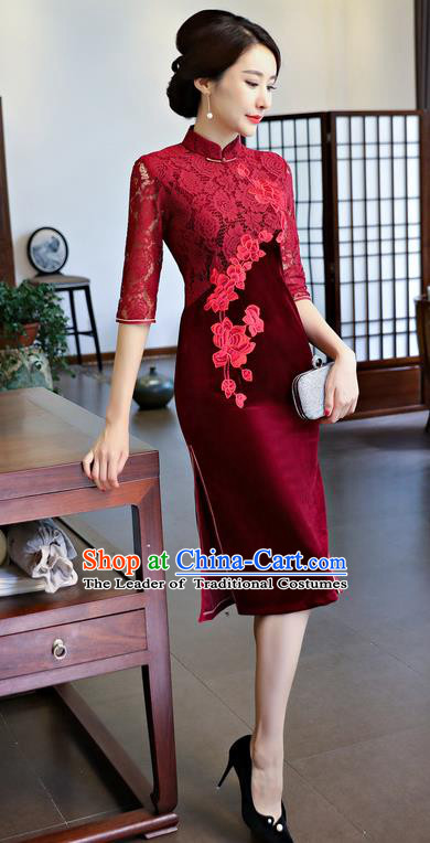 Chinese National Costume Handmade Embroidered Qipao Dress Traditional Red Lace Cheongsam for Women