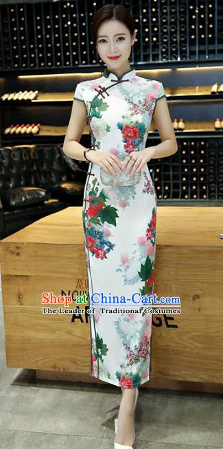 Chinese National Costume Handmade Tang Suit Qipao Dress Traditional Ink Painting Peony Cheongsam for Women