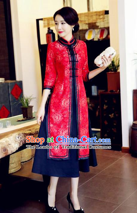 Chinese National Costume Handmade Red Qipao Dress Traditional Tang Suit Two-pieces Cheongsam for Women