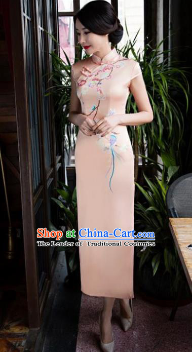 Chinese National Costume Retro Qipao Dress Traditional Republic of China Tang Suit Pink Silk Cheongsam for Women