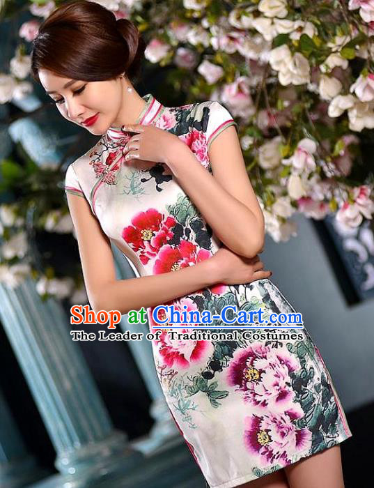 Chinese National Costume Tang Suit Printing Peony White Silk Qipao Dress Traditional Wedding Cheongsam for Women