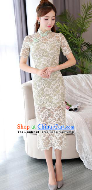 Chinese National Costume Tang Suit Green Lace Qipao Dress Traditional Republic of China Cheongsam for Women