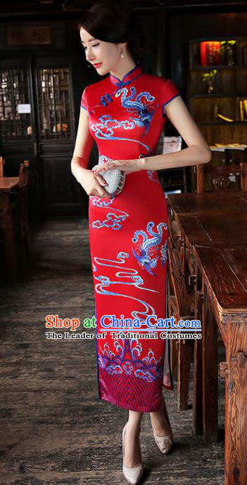 Chinese National Costume Tang Suit Qipao Dress Traditional Republic of China Red Silk Cheongsam for Women
