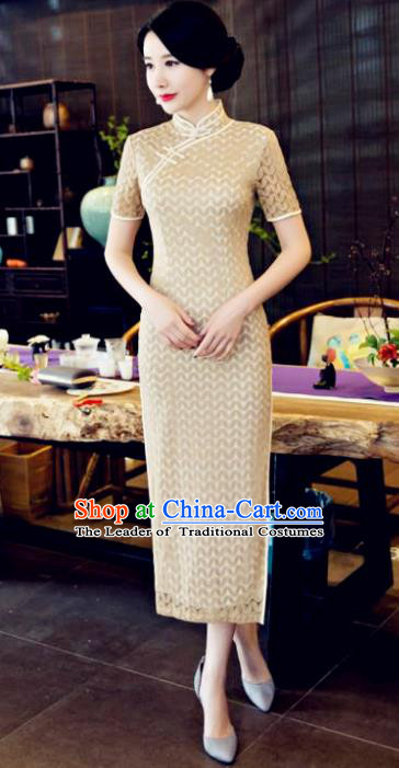 Chinese National Costume Tang Suit Qipao Dress Traditional Republic of China Apricot Cheongsam for Women