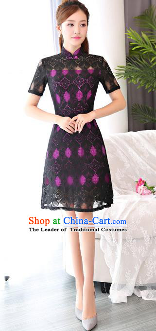 Chinese National Costume Tang Suit Black Lace Qipao Dress Traditional Republic of China Cheongsam for Women