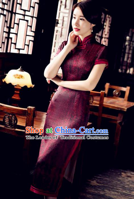 Chinese National Costume Tang Suit Qipao Dress Traditional Republic of China Wine Red Cheongsam for Women