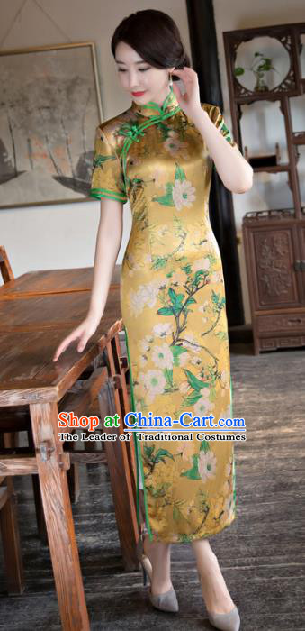 Chinese National Costume Tang Suit Qipao Dress Traditional Republic of China Yellow Satin Cheongsam for Women