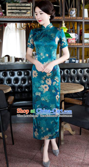 Chinese National Costume Tang Suit Qipao Dress Traditional Republic of China Green Satin Cheongsam for Women