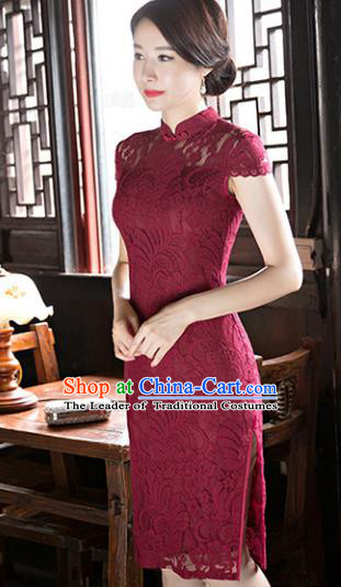Chinese National Costume Tang Suit Qipao Dress Traditional Republic of China Wine Red Lace Cheongsam for Women