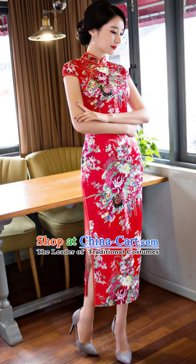 Chinese National Costume Retro Printing Red Satin Qipao Dress Traditional Republic of China Tang Suit Cheongsam for Women