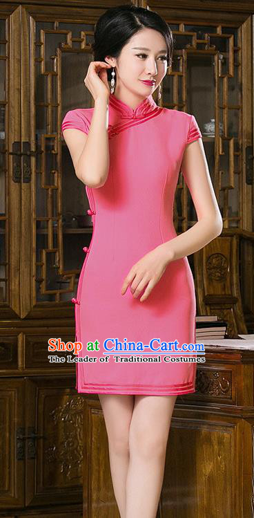 Chinese Top Grade Retro Rosy Short Qipao Dress Traditional Republic of China Tang Suit Cheongsam for Women