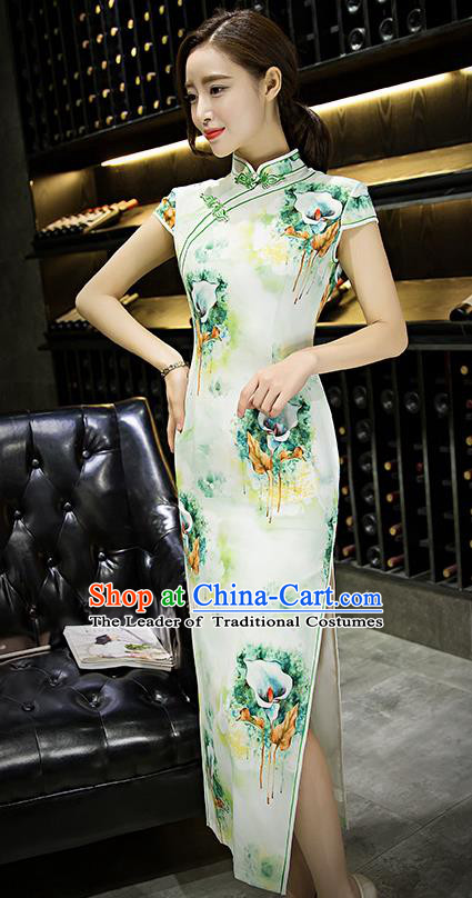 Chinese Top Grade Retro Printing Lily Flowers Green Silk Qipao Dress Traditional Republic of China Tang Suit Cheongsam for Women