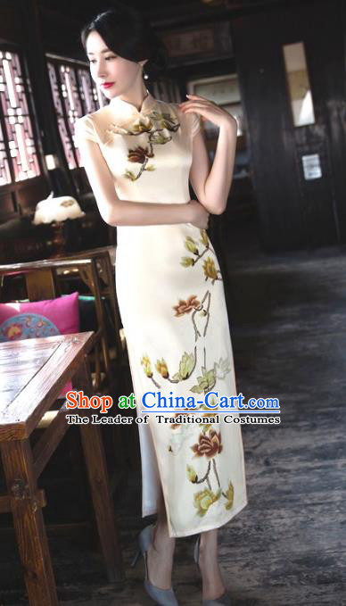 Chinese Top Grade Retro Champagne Silk Qipao Dress Traditional Republic of China Tang Suit Cheongsam for Women