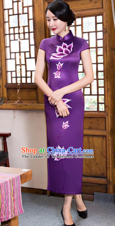 Chinese Top Grade Elegant Purple Silk Qipao Dress Traditional Republic of China Tang Suit Printing Lotus Cheongsam for Women