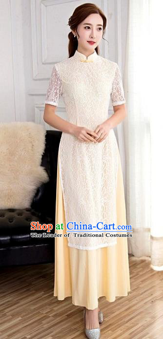 Chinese Top Grade Elegant Lace Cheongsam Traditional Republic of China Tang Suit Qipao Dress for Women