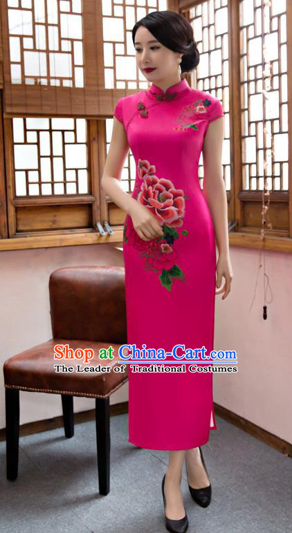 Top Grade Chinese Elegant Rosy Silk Cheongsam Traditional Republic of China Tang Suit Qipao Dress for Women