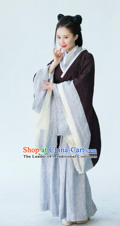Chinese Ancient Jin Dynasty Young Lady Hanfu Dress Swordswoman Replica Costume for Women