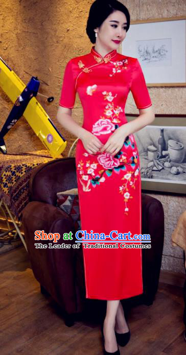 Chinese Traditional Costume Elegant Cheongsam China Tang Suit Printing Butterfly Flowers Red Qipao Dress for Women