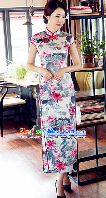 Chinese Traditional Costume Elegant Cheongsam China Tang Suit Printing Lotus Grey Qipao Dress for Women