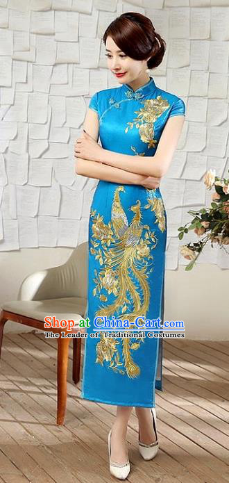 Chinese Traditional Costume Embroidered Phoenix Cheongsam China Tang Suit Silk Qipao Dress for Women
