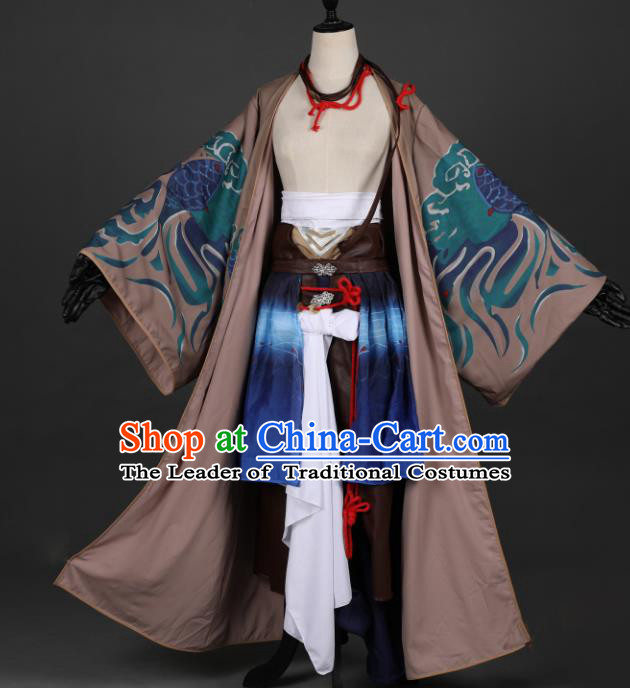 Traditional Chinese Ancient Military Officer Costume Cosplay Swordsman Hanfu Clothing for Men
