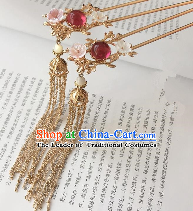 Traditional Handmade Chinese Ancient Classical Hair Accessories Step Shake Hair Sticks Tassel Hairpins for Women