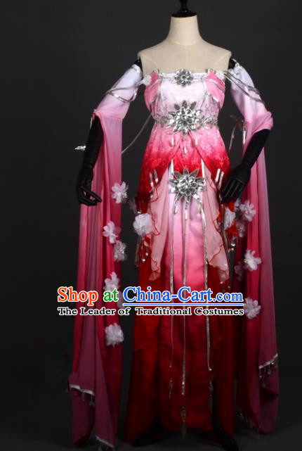 Chinese Ancient Female Knight-errant Rosy Costume Cosplay Swordswoman Dress Hanfu Clothing for Women