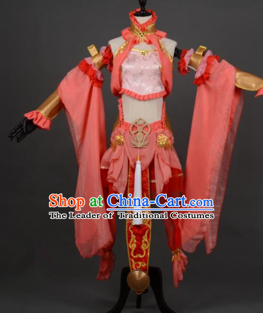Chinese Ancient Female Knight-errant Orange Costume Cosplay Swordswoman Dress Hanfu Clothing for Women