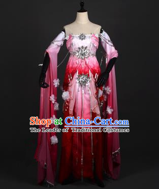 Chinese Ancient Swordswoman Costume Cosplay Tang Dynasty Princess Wine Red Dress Hanfu Clothing for Women