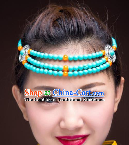 Traditional Chinese Mongol Nationality Hair Accessories, Mongolian Minority Blue Beads Headwear for Women