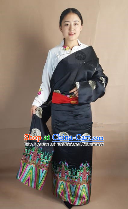 Chinese Zang Nationality Folk Dance Black Brocade Tibetan Robe, China Traditional Tibetan Ethnic Costume for Women