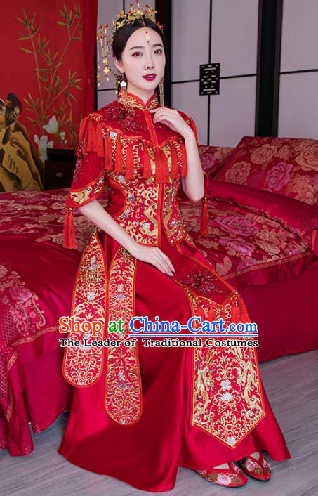 Chinese Ancient Wedding Costume Traditional Bride Xiuhe Suit Embroidered Red Full Dress for Women