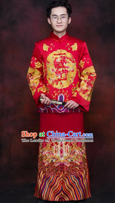 Chinese Traditional Wedding Costume Ancient Bridegroom Tang Suit Embroidered Toast Clothing for Men