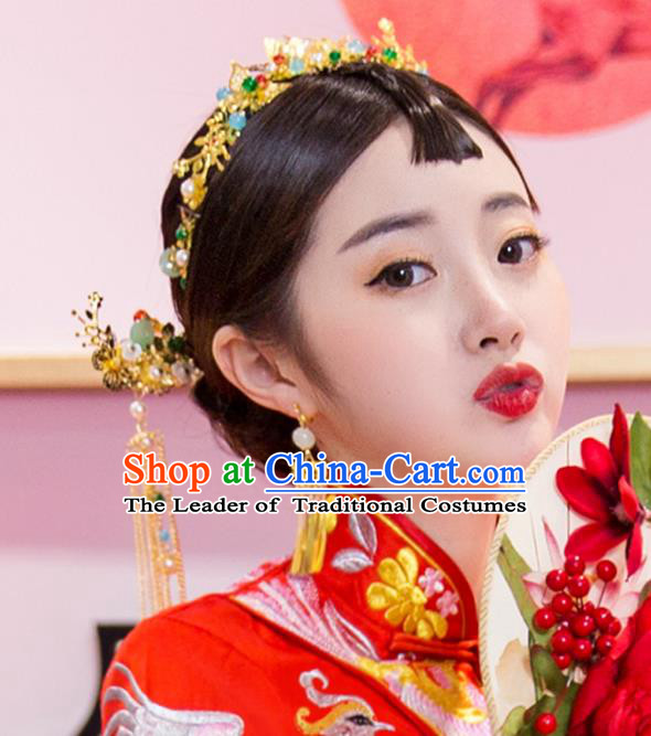 Chinese Traditional Handmade Wedding Xiuhe Suit Hair Accessories, China Ancient Bride Phoenix Coronet Hairpins for Women
