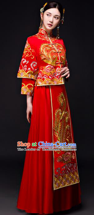 Chinese Traditional Wedding Bottom Drawer Toast Costume Ancient Bride Embroidered Xiuhe Suit Full Dress for Women
