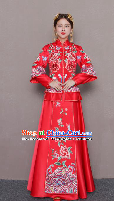 Chinese Traditional Wedding Bottom Drawer Ancient Bride Costume Embroidered Peony Xiuhe Suit Full Dress for Women